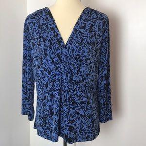 Liz & Co Royal Blue and Black Knit Top XL